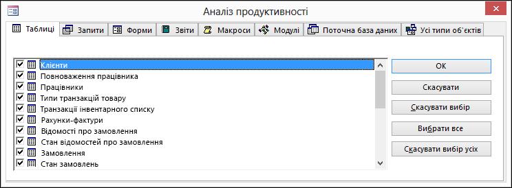 """Діалогове вікно """"Аналіз продуктивності"""" в програмі Access"""