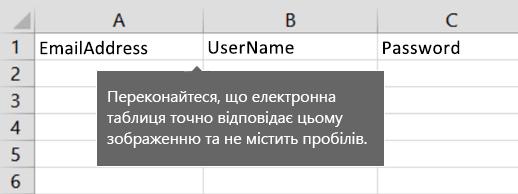 Заголовки клітинок у файлі перенесення Excel