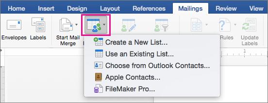 """Кнопка """"Select Recipients"""" (Вибрати одержувачів) зі списком варіантів на вкладці """"Mailings"""" (Розсилки)"""