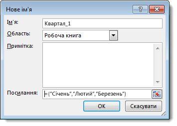 Діалогове вікно «Нове ім'я»