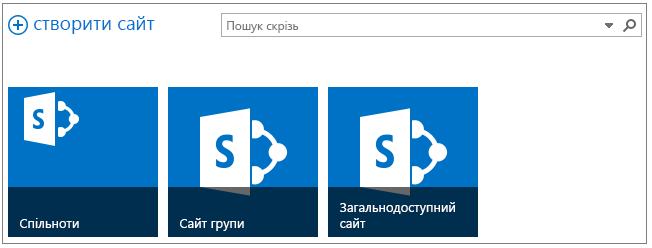 """Зразок сторінки """"Сайти""""з трьома сайтами підвищеного рівня"""
