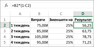 Приклад зменшення суми на відсоток