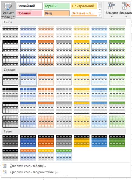 Колекція стилів таблиць Excel