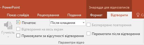 """Вкладка """"Відтворення"""" на стрічці PowerPoint із параметрами відтворення відео."""