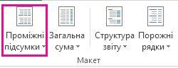 Кнопка «Проміжні підсумки» на вкладці «Конструктор»
