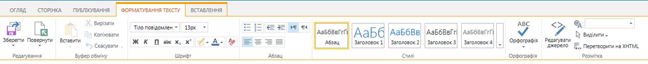 Знімок екрана із вкладкою ''Форматування тексту'', що містить численні кнопки для форматування тексту