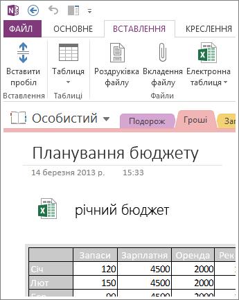 Вставлення зображення електронної таблиці на сторінці