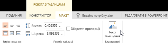"""Знімок екрана: вкладка """"МАКЕТ"""" на контекстній вкладці """"РОБОТА З ТАБЛИЦЯМИ"""" з курсором на кнопці """"Текст заміщення""""."""
