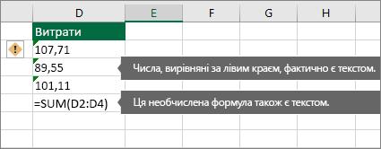 Клітинки з числами, збереженими як текст із зеленими трикутниками