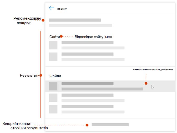 Знімок екрана з вказівники на елементи ' ' сучасний пошуку для огляду