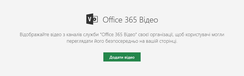 Знімок екрана: діалогове вікно додавання відео Office365 в SharePoint