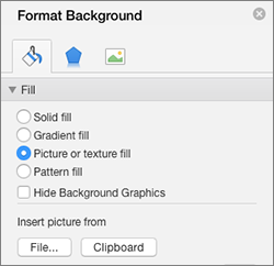 Picture Fill option in the Format Background pane
