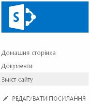 Посилання «Зміст сайту» на панелі швидкого запуску