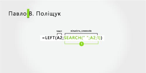 Формула для розділення імені та прізвища, а також середнього початкового