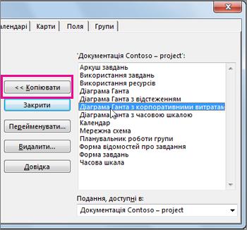 Організатор Project зі списком елементів відкритого проекту.