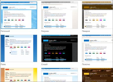 Сторінка SharePointOnline із зображеннями шаблонів сайту