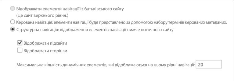 Знімок екрана: відображення дочірніх сайтів