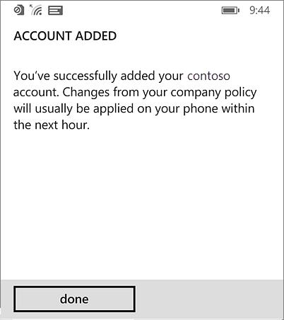 Завершення додавання облікового запису робочої області на телефоні з Windows Phone