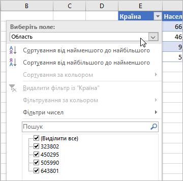 """Меню фільтрування, меню """"Показати значення"""", поля з клітинок зі зв'язаним типом даних"""