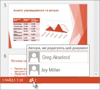 Два користувачі спільно працюють над презентацією