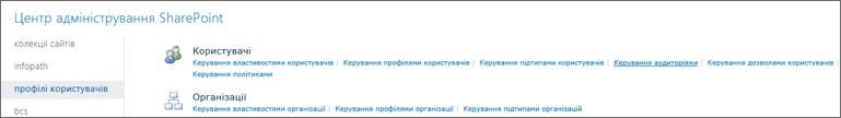 Керування аудиторіями посилання на сторінці профілі користувача