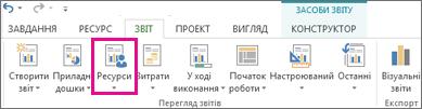 Кнопка «Ресурси» на вкладці «Звіт»