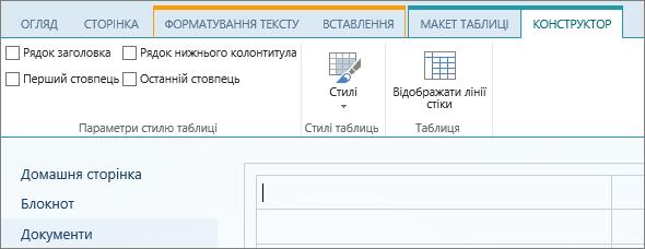"""Знімок екрана зі стрічкою SharePointOnline. Скористайтеся вкладкою """"Конструктор"""", щоб установити прапорці для рядків заголовка та нижнього колонтитула, а також першого та останнього стовпців у таблиці, вибрати стилі таблиці та визначити, чи потрібно відображати лінії сітки."""