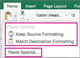 Вставте меню параметрів відображення та Спеціальне вставлення