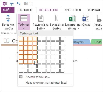 Вставлення таблиці у програмі OneNote.