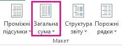 Кнопка «Загальна сума» на вкладці «Конструктор»