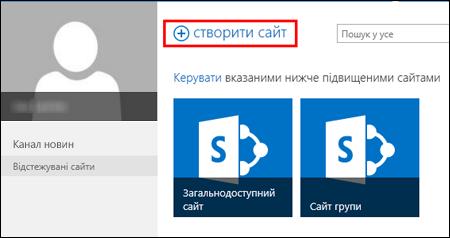 """Сторінка в SharePointOnline із кнопкою """"Створити сайт"""""""