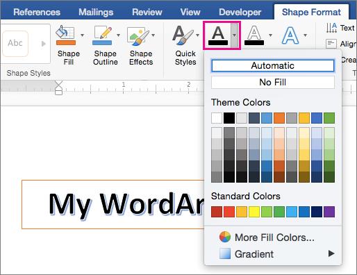 """Вкладка """"Shape Format"""" (Формат фігури) з кнопкою """"Text Fill"""" (Заливка тексту)"""