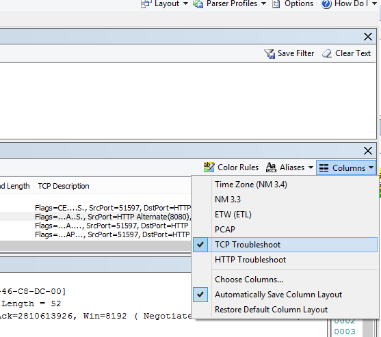Де розташовано розкривне меню Columns (Стовпці) для параметра виправлення неполадок TCP (у верхній частині області Frame Summary (Зведення за фреймами)).