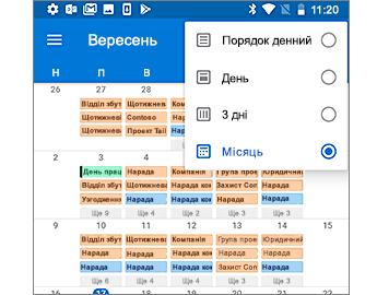 Календар із поданням місяця