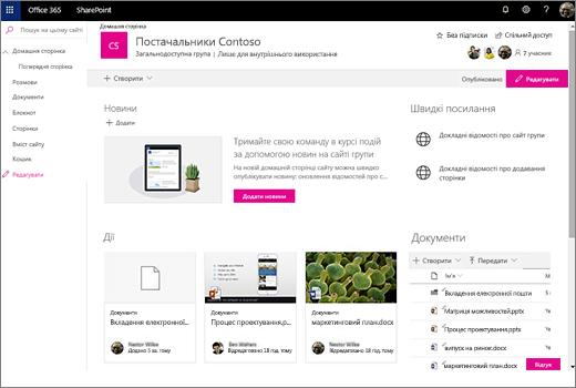 Відображає сайту групи, після підключення до нової групи Office 365 та містить посилання на старого сайту групи.