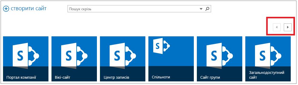 """Приклад сторінки """"Сайти"""" з шістьма сайтами підвищеного рівня та смугою прокручування"""