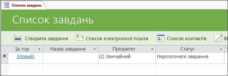 """Форма """"Список завдань"""" у шаблоні бази даних Access """"Завдання"""""""