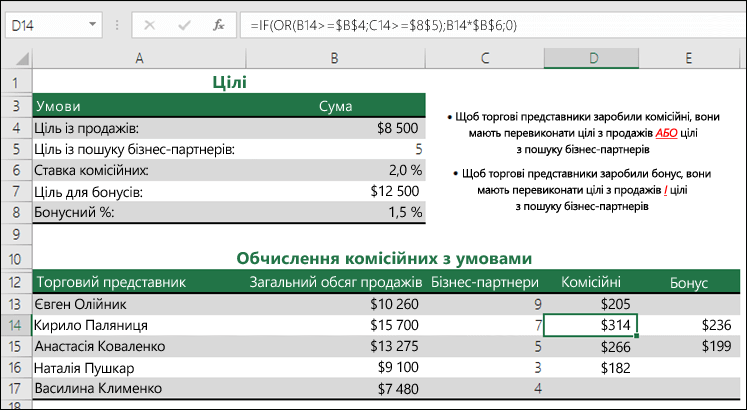 Приклад використання функцій IF і OR для обчислення комісійних із продажу
