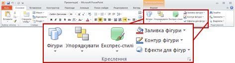 Стрічка програми PowerPoint 2010: група «Рисунок» на вкладці «Основне»