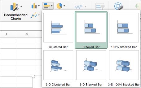 """На вкладці """"Insert"""" (Вставлення) виберіть """"Bar Chart"""" (Гістограма), а потім– """"Stacked Bar Chart"""" (Гістограма з накопиченням)"""