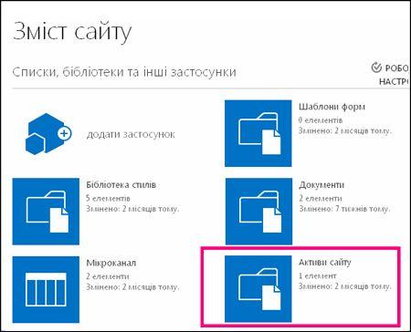 """Сторінка змісту простого сайту SharePoint Online із виділеною плиткою """"Активи сайту"""""""