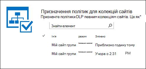 Політики призначення для колекції сайтів