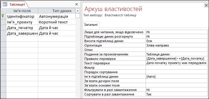 Правило перевірки таблиці в конструкторі таблиць Access