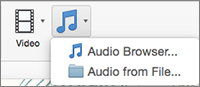 """Меню вставлення аудіозапису з варіантами """"Audio from File"""" (Аудіо з файлу) і """"Audio Browser"""" (Браузер аудіо)"""