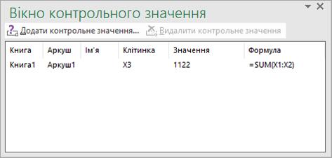 Панель інструментів вікна контрольного значення