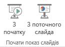 """Щоб почати показ слайдів, перейдіть на вкладку подання й виберіть один із параметрів у групі """"Почати показ слайдів""""."""