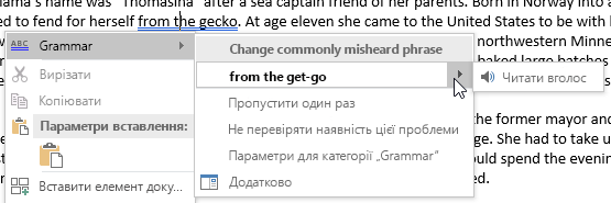 Знімок екрана: граматична помилка