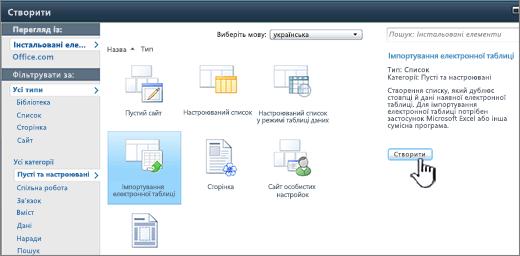 """Діалогове вікно """"Створення"""" з кнопками """"Імпортувати електронну таблицю"""" та """"Створити"""""""