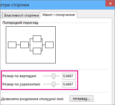 Перемістіть повзунки або введіть відповідні числа, щоб вказати розміри перетинів ліній.