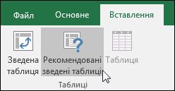 """Щоб Excel автоматично створила зведену таблицю, виберіть """"Вставлення> Рекомендовані зведені таблиці""""."""